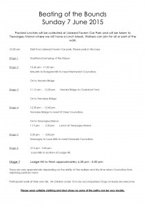 Beating The Bounds Schedule