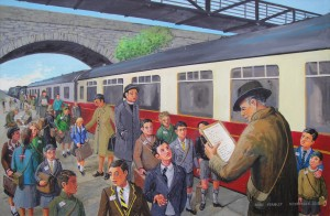 Evacuees painting