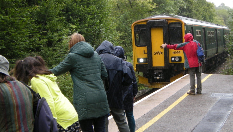 Walkers Are Welcome group hailing the train at St Keyne