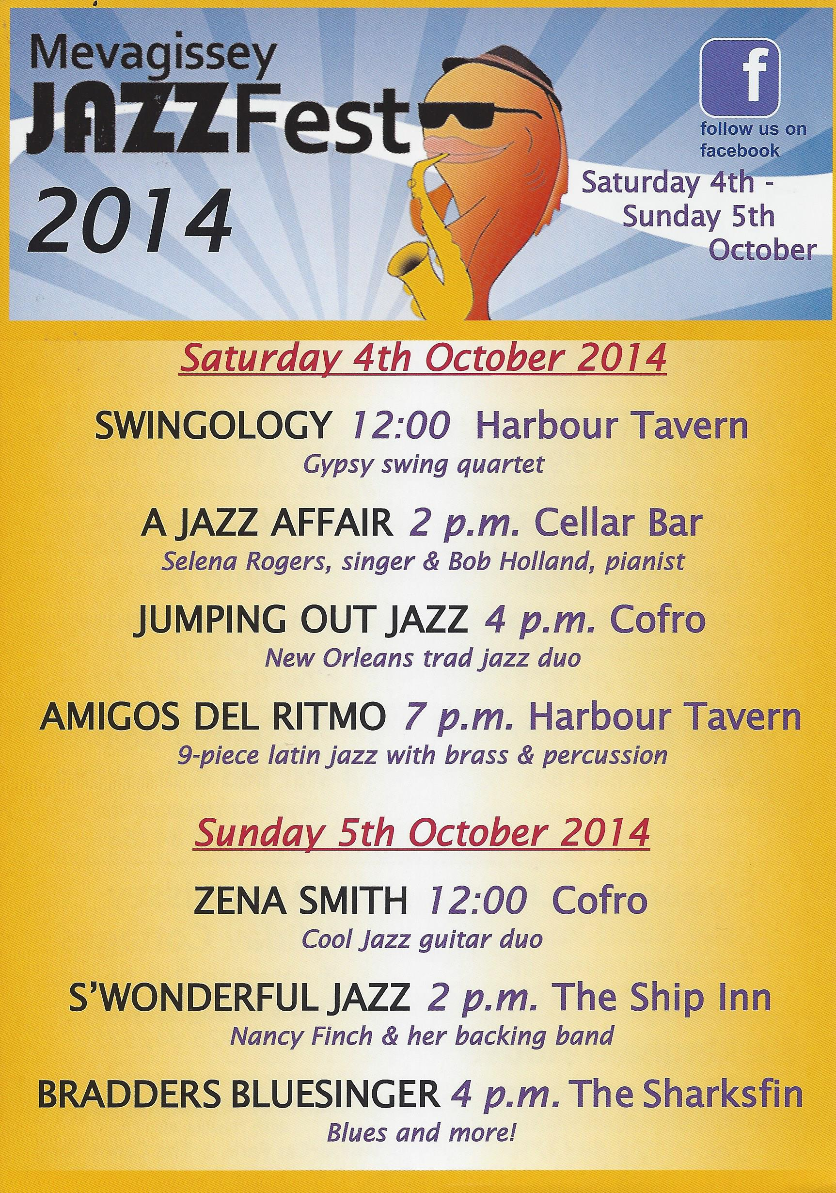 Mevagissey Jazz Festival 2014 | Harbour Tavern Cofro Sharksfin Ship Inn Cellar Bar Blues Swing Acoustic Scat | Cormorant Hotel & Restaurant Golant Fowey Cornwall