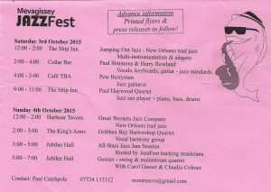 Mevagissey JazzFest provisional programme