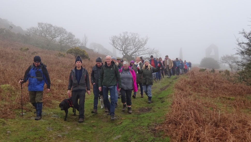 New Year's walk on Bodmin Moor with the ghostly remains of mine buildings behind