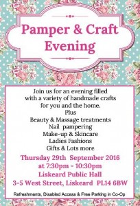 Pamper and craft evening poster