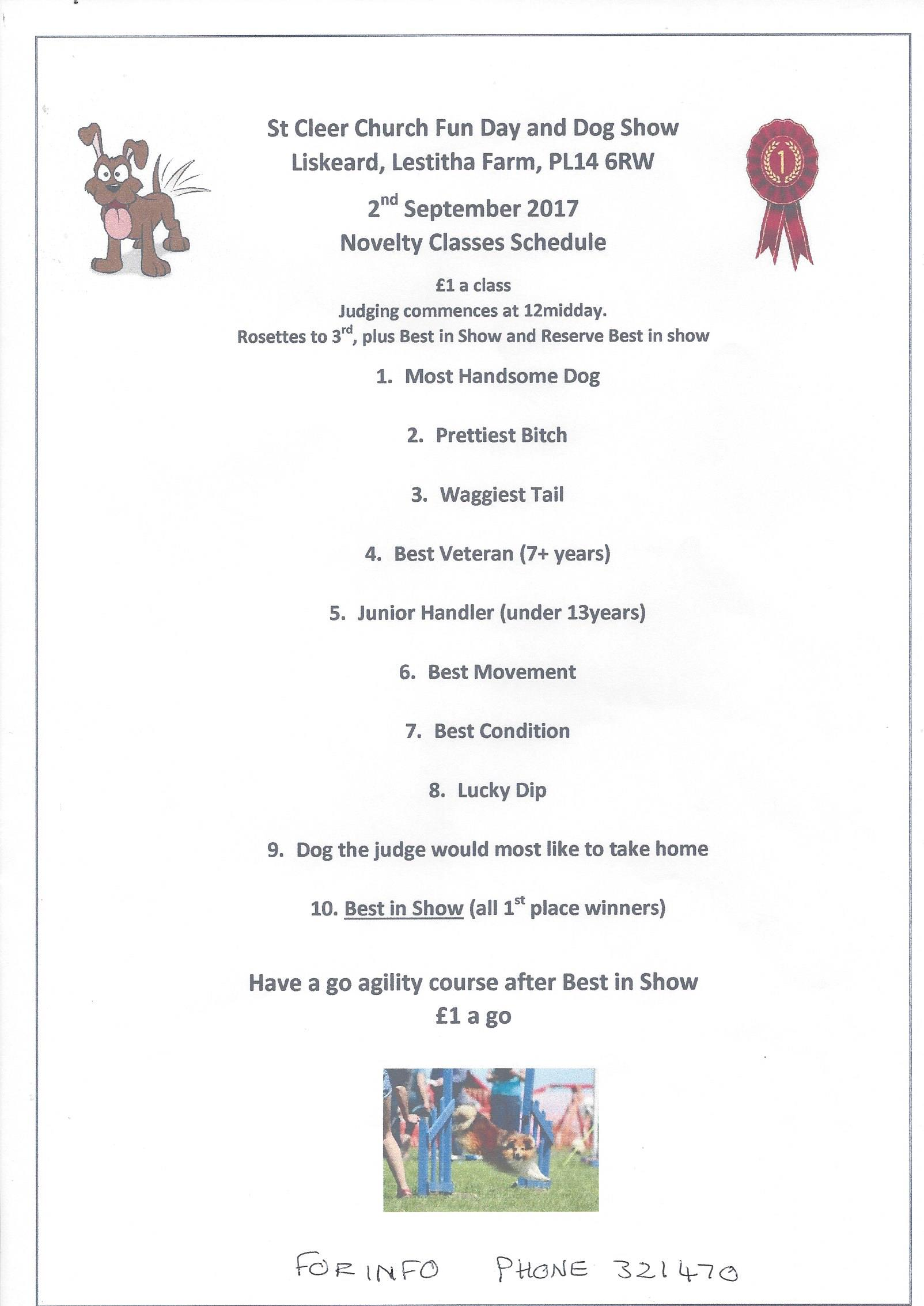 St Cleer Fun Day and Dog Show Classes